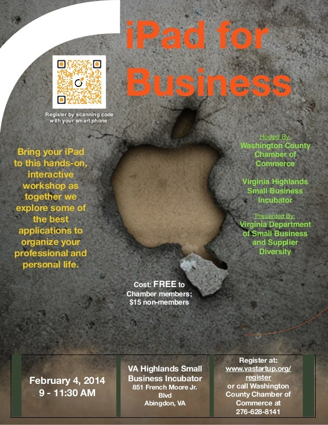 iPad for Business Register by scanning code with your smart phone.  Hosted By:  Washington County Chamber of Commerce  Bri...