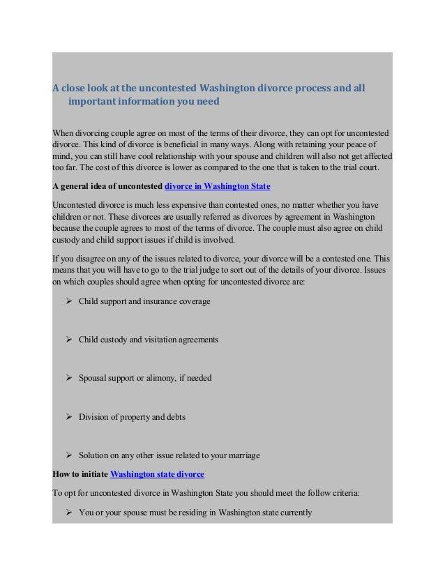 Uncontested Washington State Divorce process