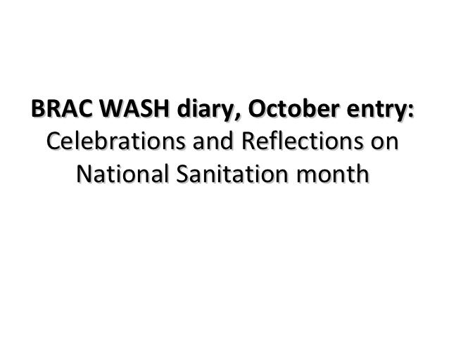 BRAC WASH diary, October entry: Celebrations and Reflections on   National Sanitation month