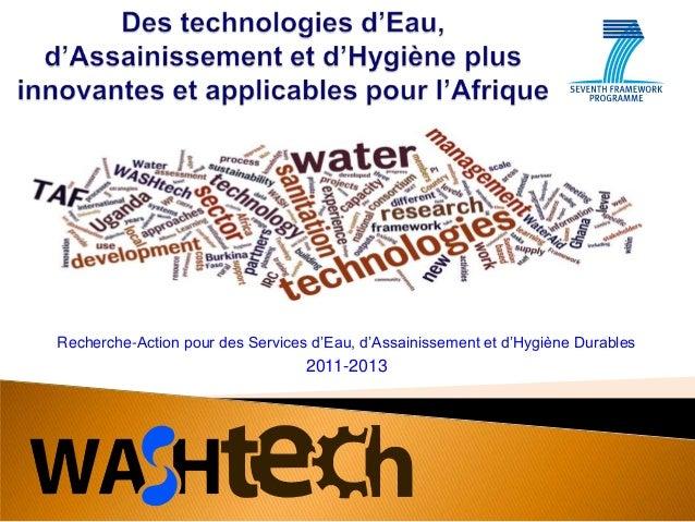 Recherche-Action pour des Services d'Eau, d'Assainissement et d'Hygiène Durables  2011-2013