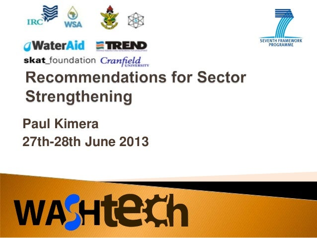 WASHTech Uganda: Recommendations for sector strengthening