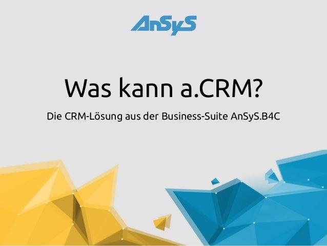Was kann a.CRM? Die CRM-Lösung aus der Business-Suite AnSyS.B4C