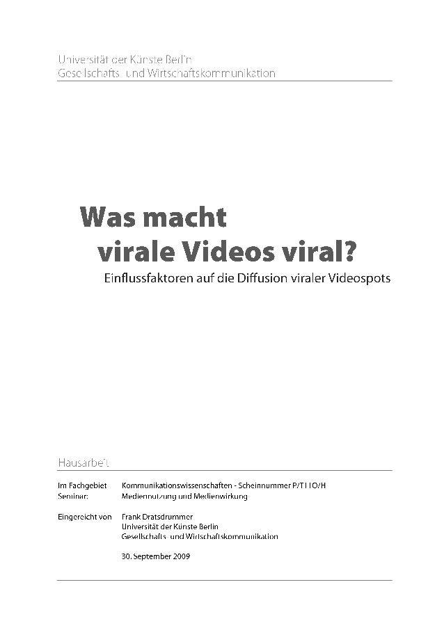Inhaltsverzeichnis Einleitung 3 1. Virales Marketing und Viralität 4 1.1. Virales Marketing - Begriffsklärung 4 1.2. Virus...