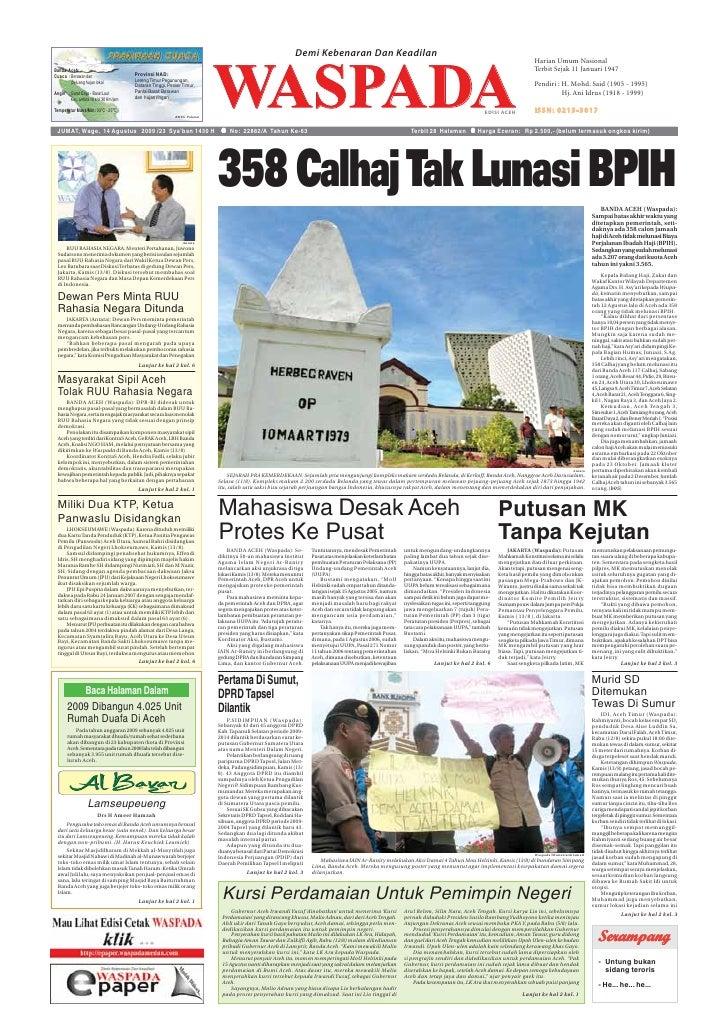 Waspada Aceh 14 Agustus 2009
