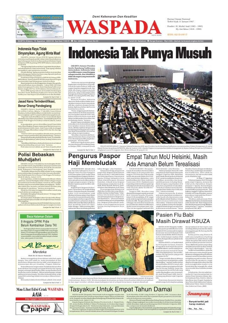 Waspada Aceh 15 8 2009