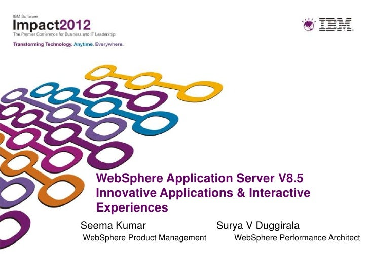 WebSphere Application Server V8.5  Innovative Applications & Interactive  ExperiencesSeema Kumar                    Surya ...