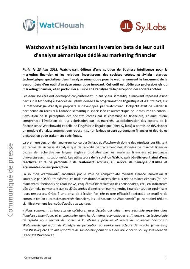 Watchowah - Syllabs Communiqué de presse
