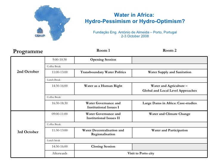 Water in Africa:  Hydro-Pessimism or Hydro-Optimism? Fundação Eng. António de Almeida – Porto, Portugal 2-3 October 2008 L...