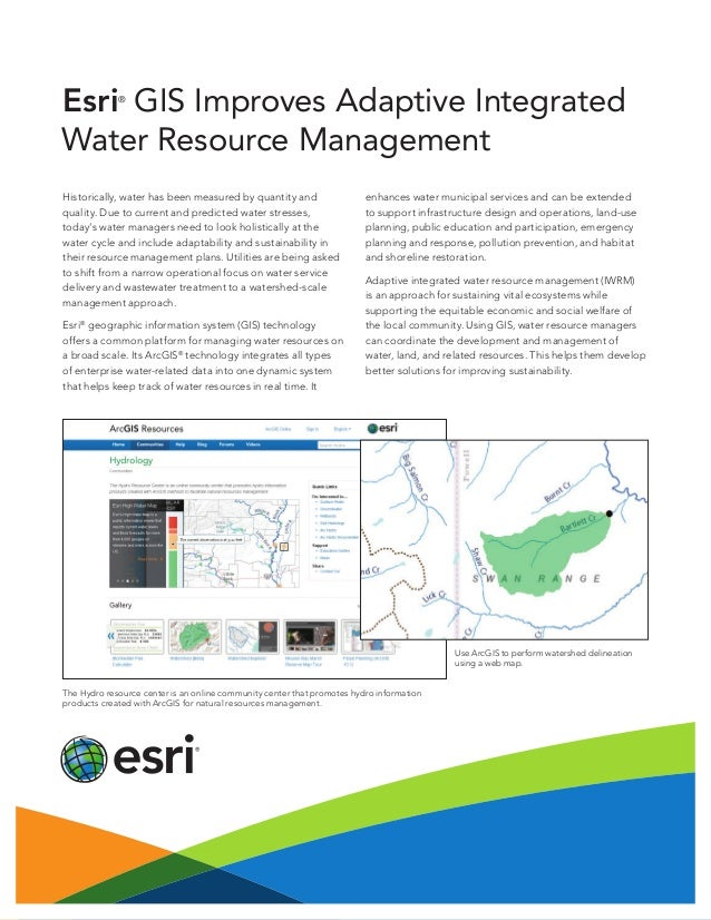 Esri GIS Improves Adaptive Integrated Water Resource Management