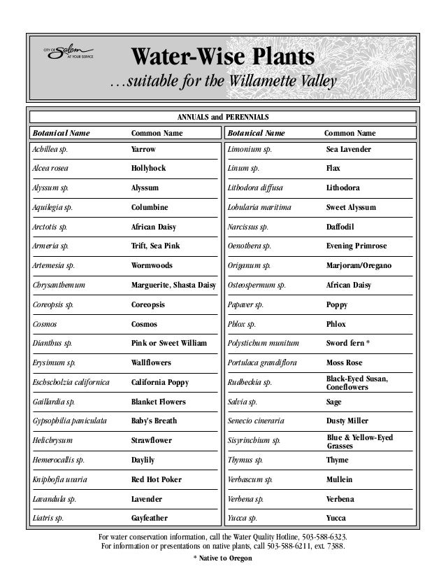 Water-Wise Plants                           …suitable for the Willamette Valley                                           ...