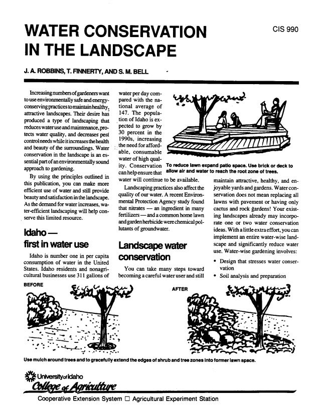 CIS 990WATER CONSERVATIONIN THE LANDSCAPEJ. & ROBBINS, t FINNERTY, AND S. M. BELL                          -  Increasingnu...