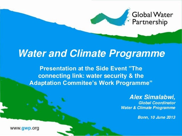 """Water and Climate Programme Presentation at the Side Event """"The connecting link: water security & the Adaptation Commitee'..."""