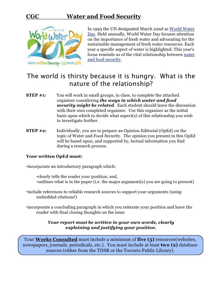 CGC                  Water and Food Security                                 In 1993 the UN designated March 22nd as World...