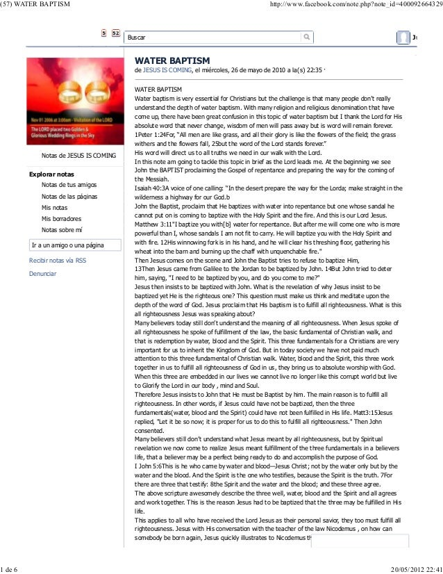 (57) WATER BAPTISM  1 de 6  http://www.facebook.com/note.php?note_id=400092664329  Buscar  Juan Gil E  WATER BAPTISM de JE...
