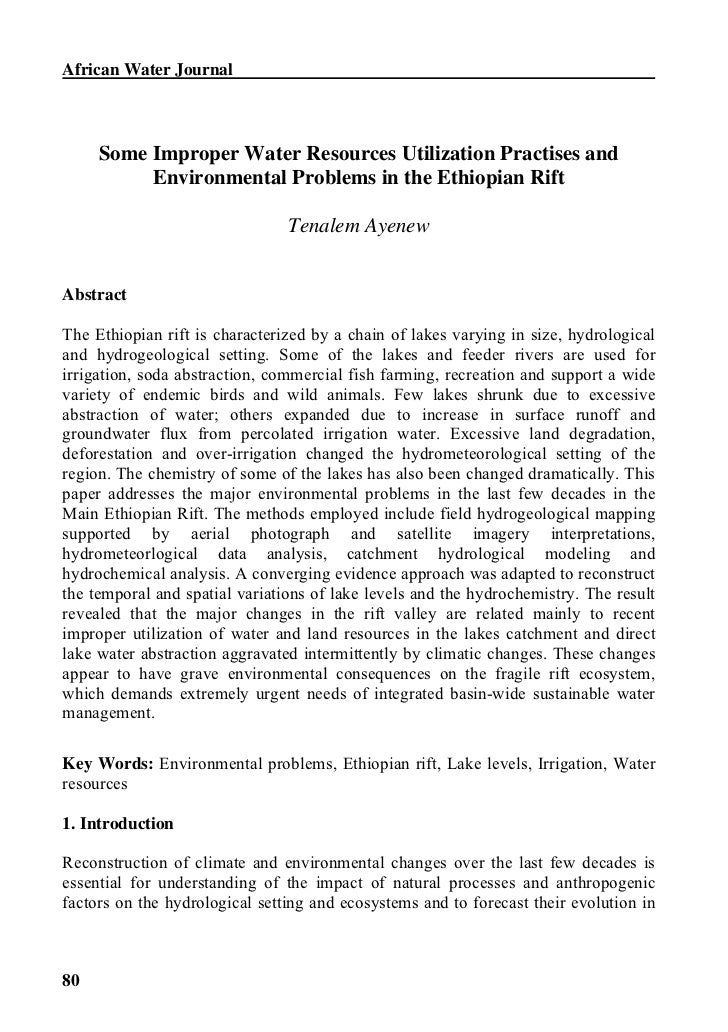 African Water Journal     Some Improper Water Resources Utilization Practises and          Environmental Problems in the E...