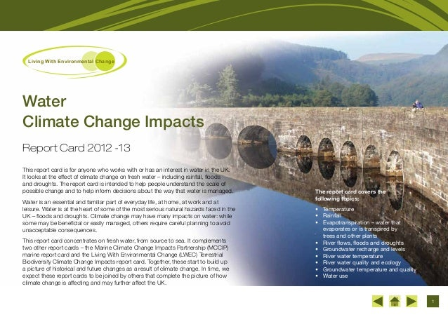 1 Living With Environmental Change The report card covers the following topics: • Temperature • Rainfall • Evapotranspi...
