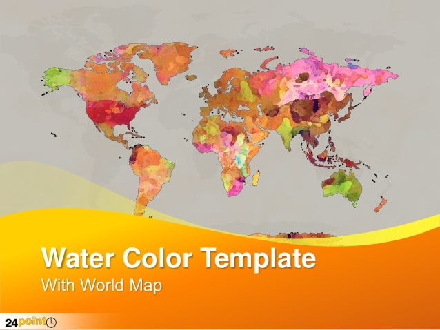 Water Color Map - Editable in PowerPoint