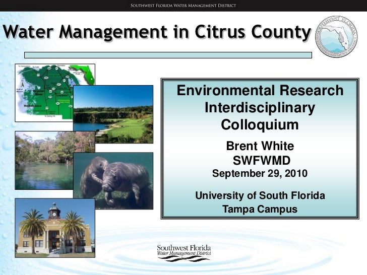 Water Management in Citrus County                  Environmental Research                      Interdisciplinary          ...
