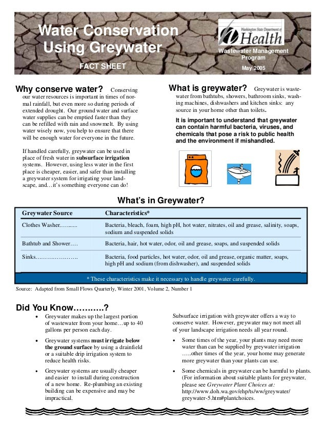 Water Conservation            Using Greywater                                                              Wastewater Mana...