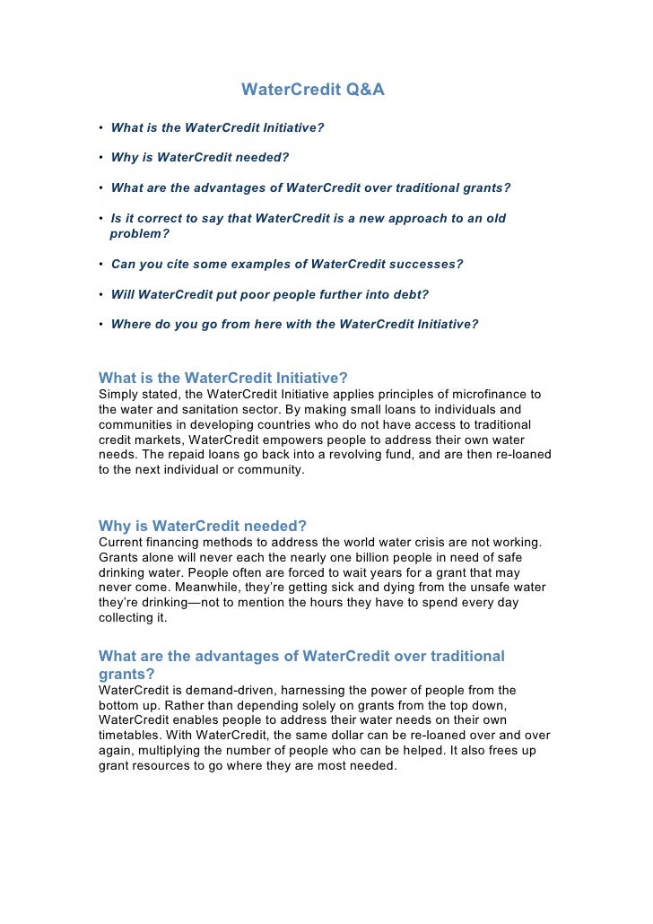WaterCredit Q&A• What is the WaterCredit Initiative?• Why is WaterCredit needed?• What are the advantages of WaterCredit o...