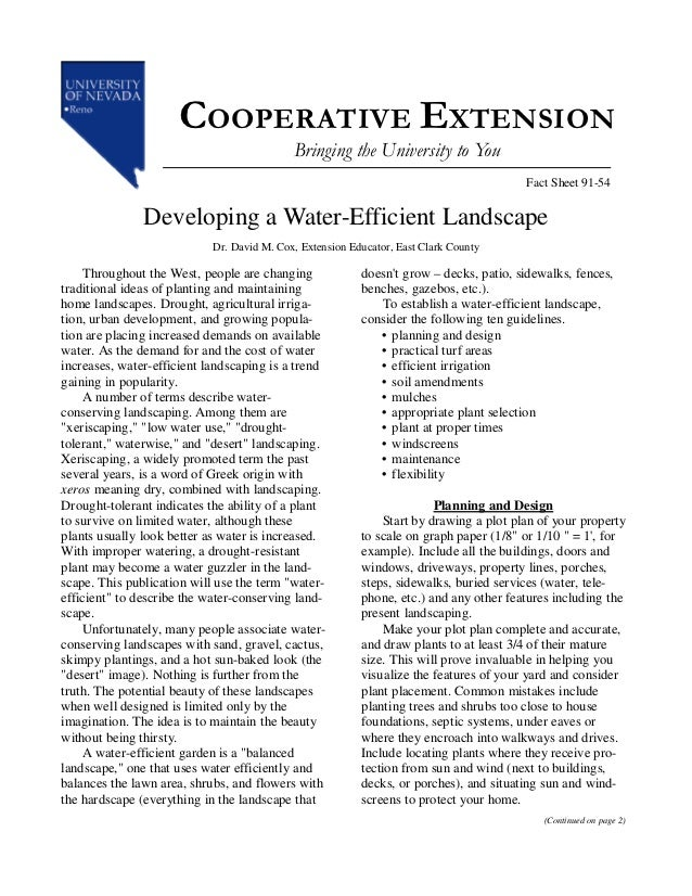 Developing A Water-Efficient Landscape - University of Nevada, Reno