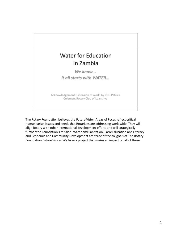 Water for education   presentation printout with notes