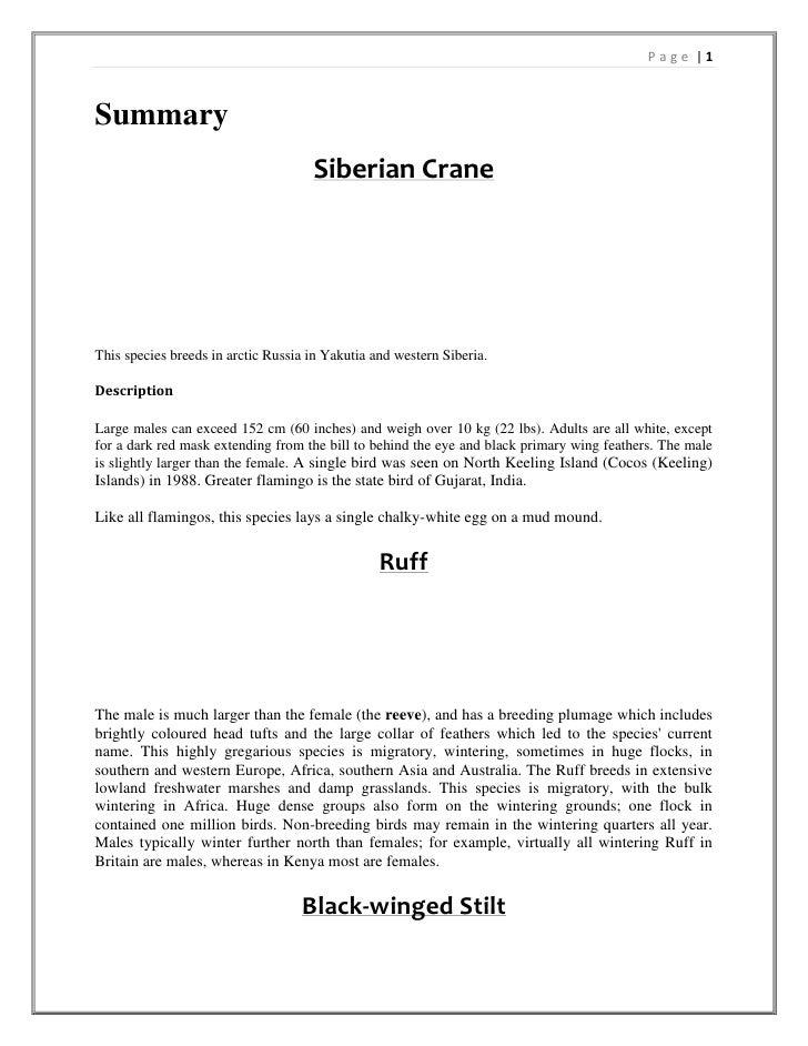Summary<br />Siberian Crane<br />This species breeds in arctic Russia in Yakutia and western Siberia. <br />Description<br...