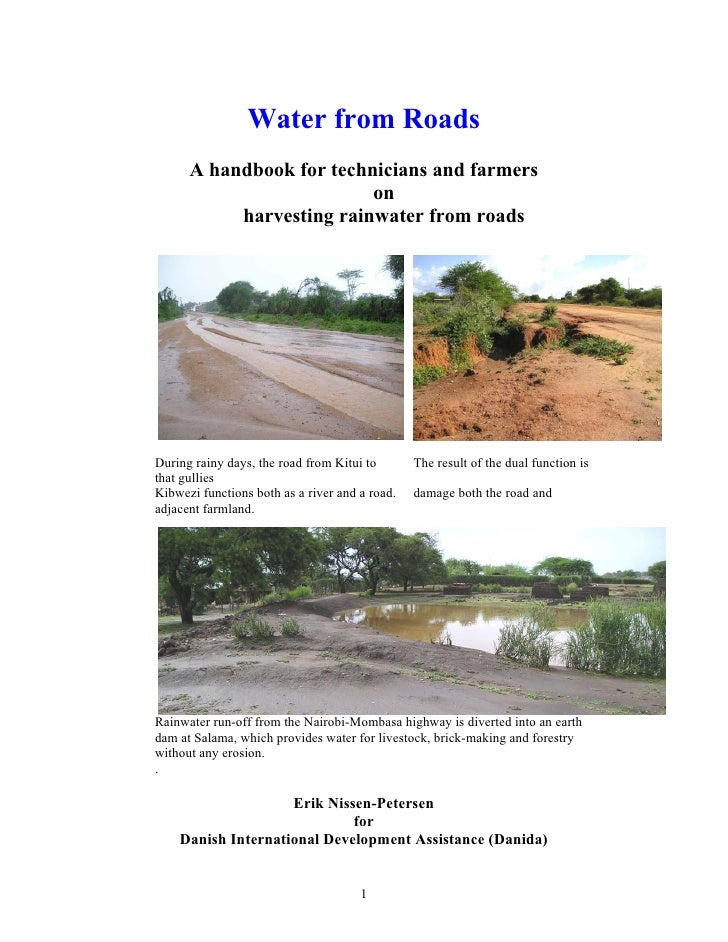 Kenya;  Water from Roads:  A Handbook For Technicians And Farmers On Harvesting Rainwater From Roads