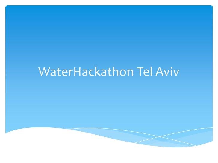 WaterHackathon Tel Aviv