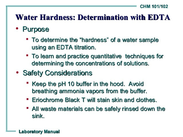 complexometric determination of water hardnesss essay Complexometric ca determination  a chelometric titration which is a particular type of complexometric titration  water with mixing then dilute to the mark with.