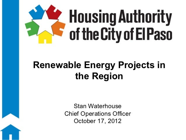 Renewable Energy Projects in        the Region         Stan Waterhouse      Chief Operations Officer         October 17, 2...