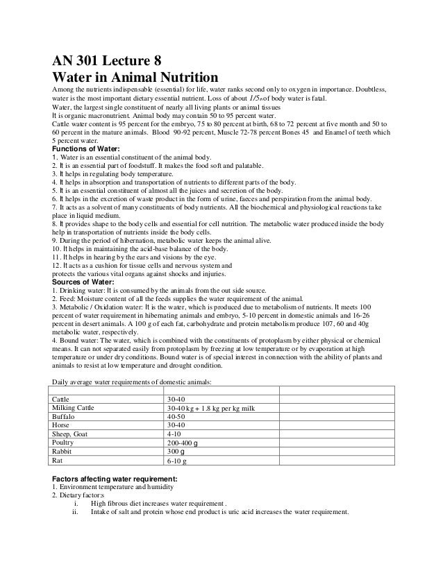 Water in animal nutrition