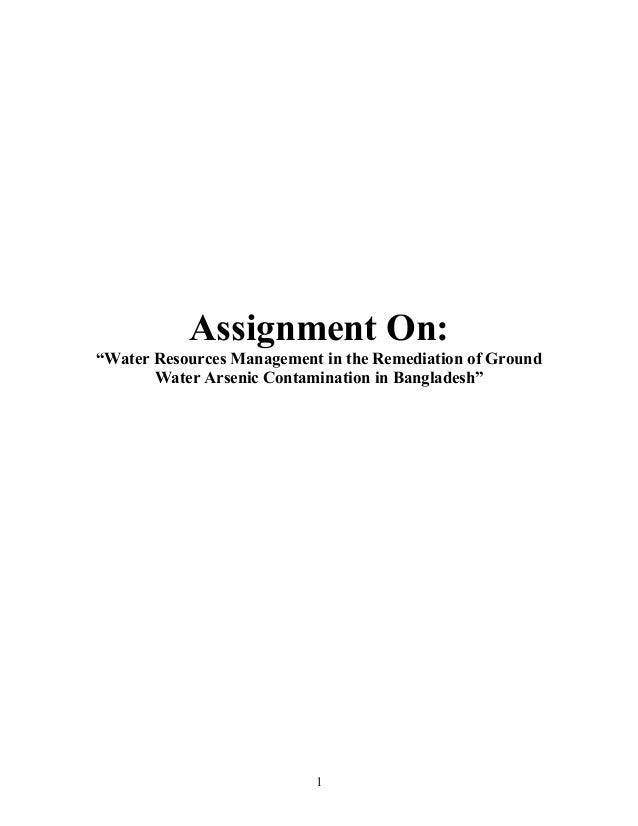 """Assignment On: """"Water Resources Management in the Remediation of Ground Water Arsenic Contamination in Bangladesh"""" 1"""