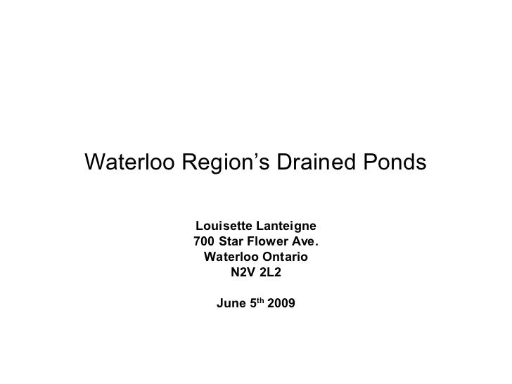 Waterloo Region's drained ponds