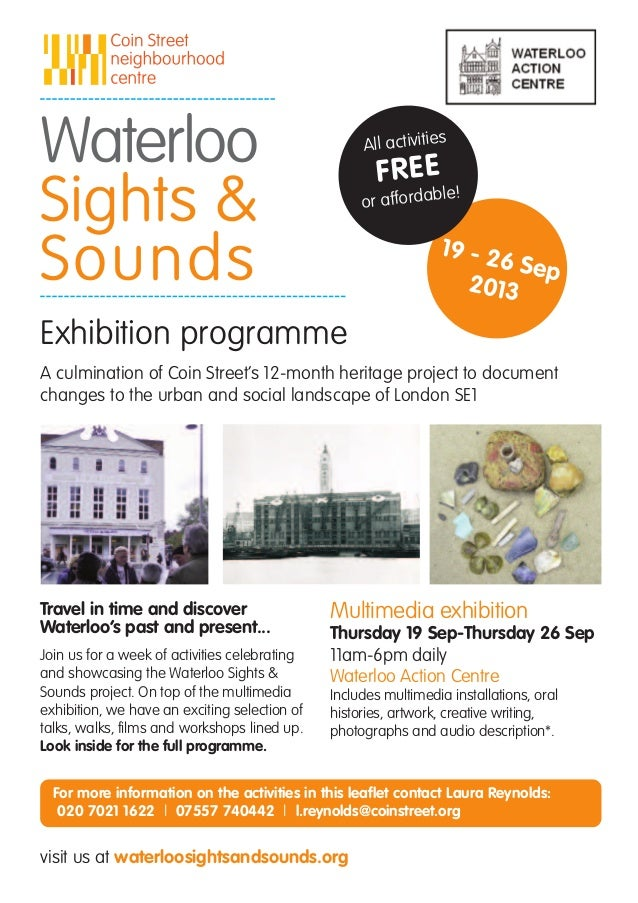 Waterloo Sights and Sounds September programme