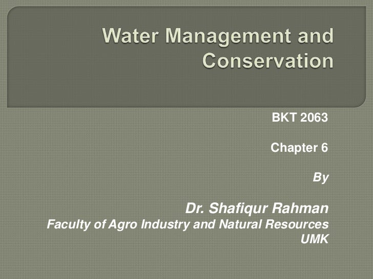 Water management and