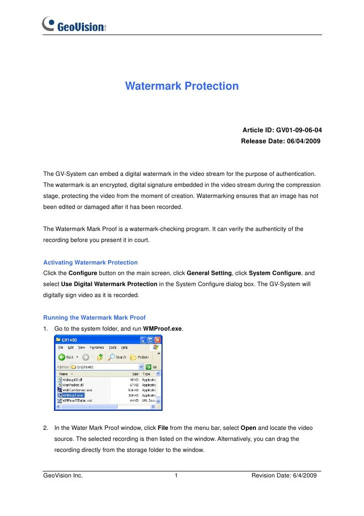GeoVision : Video Management Solutions : Knowledge : Watermark Protection
