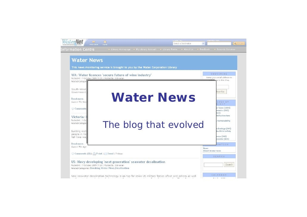 Water News  The blog that evolved