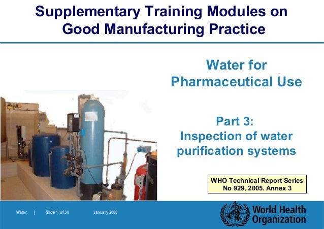 Supplementary Training Modules on               Good Manufacturing Practice                                               ...
