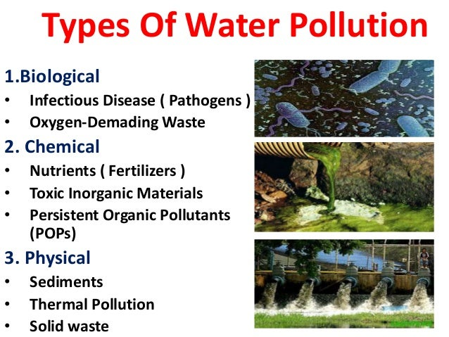 Water pollution for Different type of water