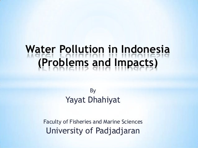 By Yayat Dhahiyat Water Pollution in Indonesia (Problems and Impacts) Faculty of Fisheries and Marine Sciences University ...