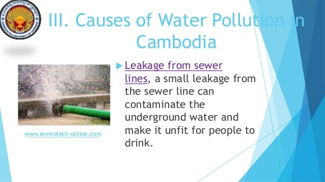 cambodia water pollution Freshwater pollution in some nigerian local communities, causes,  water pollution is the discharge of waste water from commercial and industrial waste.