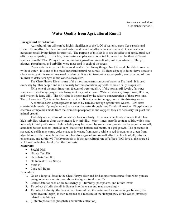 Water Quality From Agricultural Runoff