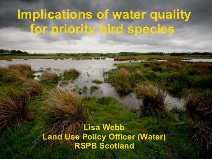 Implications of water quality for priority bird species   Lisa Webb Land Use Policy Officer (Water) RSPB Scotland