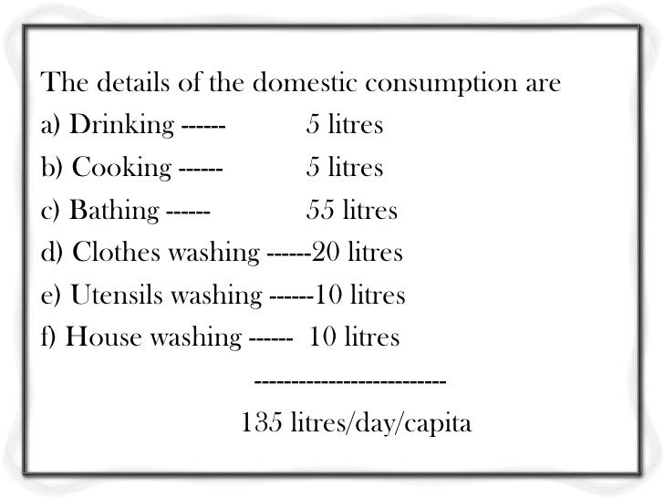 Standard Daily Drinking Water Consumption Per Person