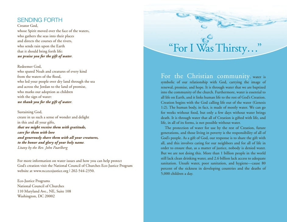 For I Was Thirsty - Brochure