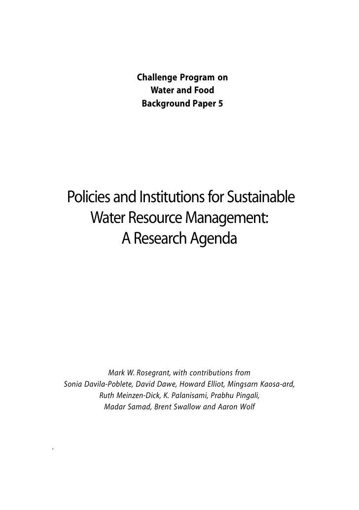 Challenge Program on                            Water and Food                          Background Paper 5    Policies and...