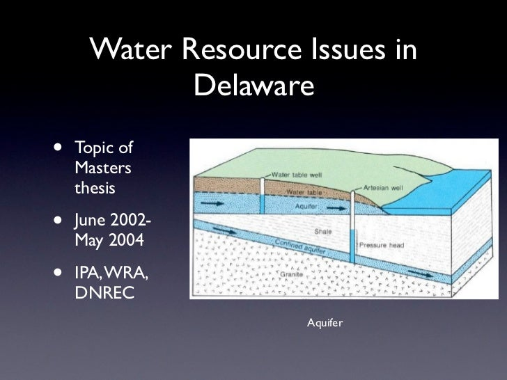 Water Resource Issues in             Delaware•   Topic of    Masters    thesis•   June 2002-    May 2004•   IPA, WRA,    D...