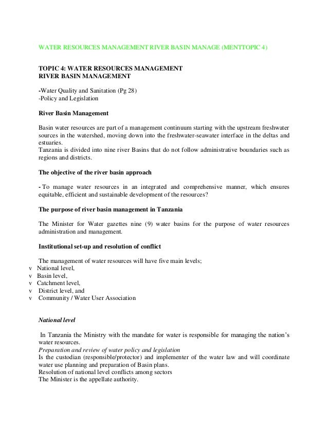 WATER RESOURCES MANAGEMENT RIVER BASIN MANAGE (MENTTOPIC 4) TOPIC 4: WATER RESOURCES MANAGEMENT RIVER BASIN MANAGEMENT -Wa...
