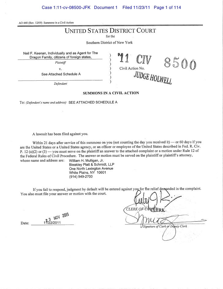 Case 1:11-cv-08500-JFK Document 1                      Filed 11/23/11 Page 1 of 114AO 440 (Rev. 12/09) Summons in a Civil ...